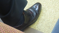 Japanese Daddy - captoes 01 (TBTAOTW2011) Tags: street camera old man black feet leather socks businessman silver hair subway daddy asian foot shoe japanese grey shoes dad dress candid beefy gray tie business suit hidden belly mature overweight captoe captoes