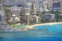 Farewell view of Waikiki (Ian E. Abbott) Tags: beach hawaii waikiki aerial honolulu waikikibeach windowseatplease windowseat halekoa hiltonhawaiianvillage rainbowtower halekoahotel alawaiharbor alawaiboatharbor dukekahanamokulagoon alawaimarina