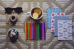 these are a few (jeantre3) Tags: light color floral sunglasses dark paper lemon tea pens jewelrybox hempcord