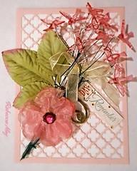 Handmade  Card (n2photos2009) Tags: birthday pink flower bird art words handmade card ribbon jewels rmay n2photos lovechallenge5 diecutbackground