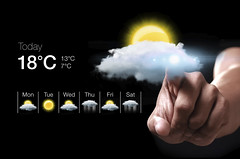 Hand pressing virtual weather icon (radiomurcia) Tags: sun weather technology hand display cloudy sunny screen rainy virtual concept temperature pointing today forecast degree meteorology