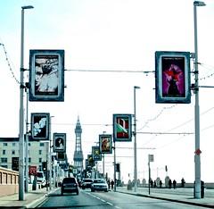 Illuminations... (Kez West) Tags: street postprocessed cars lights town seaside traffic roads blackpool tramlines blackpooltower htt telegraphtuesday