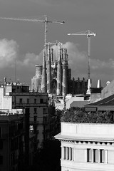 Barcelona - Sagrada Familia (Lala_77) Tags: barcelona sunset blackandwhite architecture canon spain gaudi 7d catalunya sagradafamilia