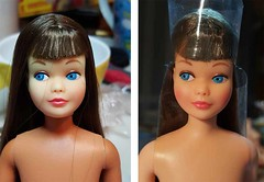 Vintage Skipper before & after (Pania Cope) Tags: color girl vintage casey mod magic barbie skipper before american restore restoration after swirl ponytail tnt midge tlc sidepart bubblecut