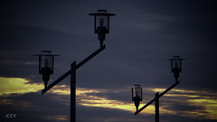 follow me home lights (babs van beieren) Tags: sunset sky port lights evening harbour lantern