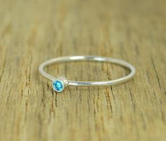 Tiny Blue Zircon Rin (alaridesign) Tags: tiny blue zircon ring stacking sterling mothers december birthstone dainty by alaridesign