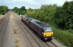 67006 & 66034 passing through Tupton with the 0F54 Belmont Down Yard to Toton, 9th Aug 2016. (Dave Wragg) Tags: 67006 class67 skip 66034 class66 dbschenker tupton 0f54 loco locomotive railway