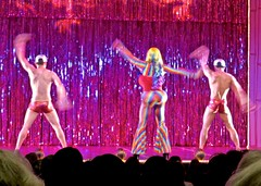 IMG_7193 (danimaniacs) Tags: theater show musical lacageauxfolles hoy shirtless dancer dance speedo bathingsuit trunks red hunk male drag dragqueen stripes costume performance stage back