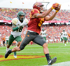 College football player catches ball out of bound (Q Win) Tags: wideout widereceiver pass catch american action conference sports outdoor jacktrice cy baylor baylorbears iowa ames cyclones iowastate big12 football college ncaaf ncaa