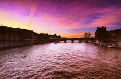 Delightful Dusk over the Seine (Dan Haug) Tags: dusk seine river paris france bridge louvre vacation xf1024mmf4rois fujifilm xt1 january 2015 explore explored
