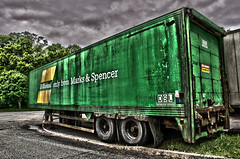 Old Mark & Spencer Trailer (kawasanyi) Tags: old green abandoned rusty goods lorry worn trailer load markspencer