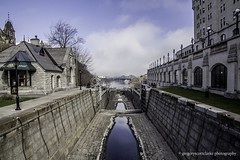 First Fog of 2016 - lookin' down the empty locks [one hand held]. (gregoryscottclarke photography) Tags: river spring downtown ottawa rideaucanal victoriaisland thelocks