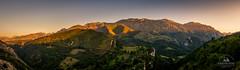 Alto de Las Estazadas (Carlos Dias | photography) Tags: sunset mountain mountains nature horizontal landscape nationalpark spain pano asturias panoramic viewpoint warmlight picosdeeuropa sidelight noclouds altodelasestazadas lasestazadas