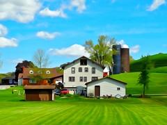 Green Pastures (e r j k . a m e r j k a) Tags: ohio watercolor harrison farm silo pasture bucolic jewett erjkprunczyk oh9 oh151