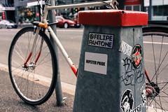 Fitzroy/Collingwood 16-05-16 (Divided Creative) Tags: road street city urban streetart art bicycle hydrant outdoors graffiti hipsters collingwood stickers fitzroy australia melbourne pride victoria kerb footpath felipepantone