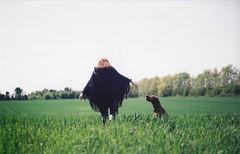 Adventure Awaits (Film by Emily) Tags: summer dog sun selfportrait green film field back canine depthoffield faceless canonae1 redhair companion emilyjacksonfilm