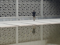 Walls and mound of the Anhui cultural museum (Germn Vogel) Tags: china reflection water wall asia alone chinese decoration culture single mound oneperson waterreflection anhui hefei eastasia anhuiprovincialmuseum