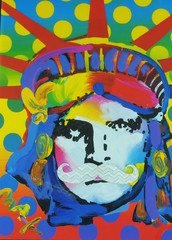 liberty isn't pretty    44/100 (Marked_man) Tags: portrait inspiration color art colors face paper fun artwork 60s colorful bright humor inspired icon pop 70s statueofliberty mustache stevemartin petermax 100possibilitiesproject