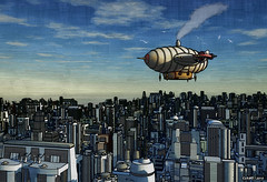 Airship Over Future City (kenmojr) Tags: sky seagulls birds clouds flying gulls smoke flight heavymetal steam fantasy scifi airship sciencefiction steampunk zepplin dystopia dystopian kenmorris kenmo