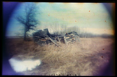 (|Digital|Denial|) Tags: flippedlens distortion vignette pn2011 modification analog 35mm filmgrain grainy colour expired film prairies sky abandoned farm rural collapse decay ruin debris