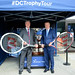 Conor alongside, West Hants Club Chief Executive Officer, Peter Elviss and the Davis Cup.