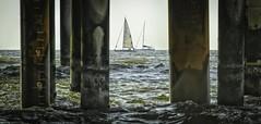 Sail past the pillars of withstanding.. (ParadoX_Design) Tags: ocean sea seascape beach water sailboat boats pier boat waves sailing dof horizon den shore northsea sail haag pillars