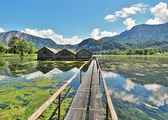 Kochelsee , Germany (adr.vesa) Tags: bridge panorama lake mountains nature water germany bayern bavaria landscapes natural barns serene kochelsee kochel