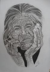 ABUELA PENSATIVA (Roswitha texera) Tags: retrato abuela dibujo lápiz artístico hiperrealismo pensativa arrugas realista