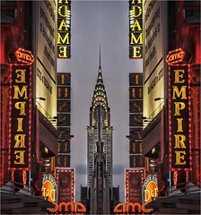 Time Square erauqS emiT.     -Explored- (Ova.) Tags: usa newyork architecture canon buildings lights luces manhattan timesquare chryslerbuilding 6d