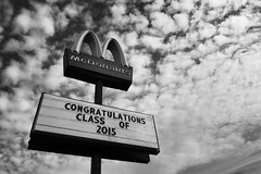 Job Fair (mfhiatt) Tags: blackandwhite sign graduation iowa mcdonalds signage desmoines day126 day126365 mfhiatt 365the2015edition 3652015 ©2015michaelfhiatt dscf50030515jpg 6may15