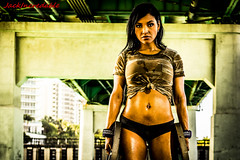 Fitness Nicky (Jack Incredable) Tags: bridge portrait woman black sexy sports beautiful face hair florida miami camo sweaty fitness abs camoflauge focused weights