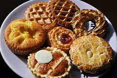 116/365 tart selection (werewegian) Tags: apple cherry strawberry market coconut selection biscuit custard nut tart iatethis day116 apr15 werewegian day116365 365the2015edition 3652015 26apr15