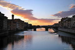 Firenze (agabarka) Tags: city sunset italy clouds river landscape florence tuscany d90 nikon90