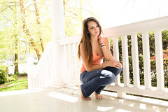 Warm weather is bae (liz.kyle) Tags: blue light orange white house green colors girl female hair adult edited thoughtful jeans porch teenager braids lightroom