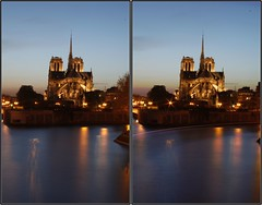 Stereo Cathedral (_NicoDem_) Tags: paris france colors night canon 3d cathedral mark couleurs notredame relief cathédrale stereo ii 5d nuit stereography stereoscopy stéréoscopique 5dmkii stereoscopics