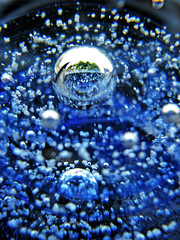 Across the Blue Horizon (skipmoore) Tags: blue glass bubbles bubble paperweight 6625