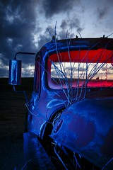 Blue-Red Pickup II (Notley) Tags: blue light sunset red sky lightpainting tree abandoned night clouds truck evening midwest rearviewmirror pickuptruck missouri april bluehour redlight nocturne bluelight 2016 10thavenue notley ruralphotography ruralusa overtonmissouri notleyhawkins coopercountymissouri missouriphotography httpwwwnotleyhawkinscom notleyhawkinsphotography