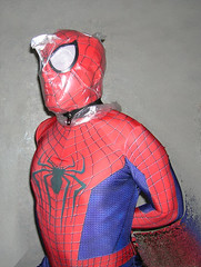 Spider-man bagged for some breathplay 1 (uomoragnolegato) Tags: blue red mask cosplay spiderman bondage gloves hood tight spandex catsuit bagging suffocation zentai asphyxia breathplay breathcontrol