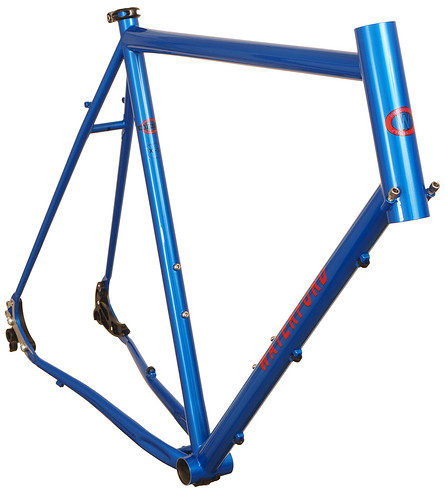 <p>Waterford 14-Series Vision Design with Modular Disc Dropouts in Blue Flame.  The modular dropouts lets you convert from quick release to through axle hubs.  Also includes our new double bend chainstays for increased tire and heal clearance.</p>