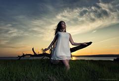 Tatiana2 (modulationmike) Tags: lighting wood sunset sky colour female clouds model dress angle low coastal grasses brunette