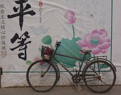Equality ! (BenZ-fotos) Tags: china road travel art bike bicycle asia lotus transport chinese beijing hoarding cycle  prc  calligraphy fareast peking equality chinesecalligraphy  peoplesrepublicofchina lotusflower depiction  5photosaday  chinawind