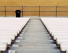 I See The Steps Behind Me Disappearing... Can You Help Me? (Isabelle de Touchet) Tags: stairs down steps bleachers stadium highschool lines perspective composition longbeach canon powershotsx50 urban jordanhighschool isabelledetouchet