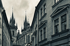 Prague (rvtn) Tags: city blackandwhite monochrome architecture prague spires czechrepublic churchofourladybeforetn