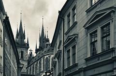 Prague (rvtn) Tags: city blackandwhite monochrome architecture prague spires czechrepublic churchofourladybeforetýn
