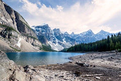 Moraine Lake (judymtomlinson) Tags: travel trees lake snow canada mountains reflection rock landscape alberta banff moraine waterscape nikon3200