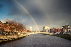 Hapenny Bridge (dubdream) Tags: hapennybridge dublin ireland rainbow sky city river bridge olympus dubdream cloud rain colorimage travel people street