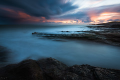 La Sauzaie, long exposure (Tony N.) Tags: france paysdeloire vende lasauzaie plage beach cloudysunset sunset coucherdesoleil endofday bretignollessurmer sea mer rocks rochers nuages clouds ocean poselongue longexposure d810 nikkor1635f4 vanguard tonyn tonynunkovics eau crpuscule cte littoral shores rivage ciel sky totallyinvisibleforflickrexplore