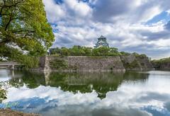 Osaka Castle reflection (Kostas Trovas) Tags: culture castle city eveninglight hdrfromoneraw asia travel reflection water 6d sky beautiful canon osaka japan clouds