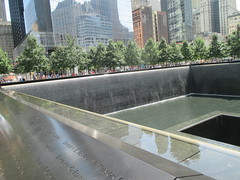 World Trade Center Memorial Fountains 2016 NYC 4356 (Brechtbug) Tags: 911 memorial fountain lower manhattan 2016 nyc footprint world trade center wtc ground zero september 11 2001 downtown new york city 2011 fdny public monument art fountains 08272016 foot print freedom tower today west skyscraper building buildings towers reflection pool water falls waterfalls wall walls pools tier tiered 15 years fifteen five
