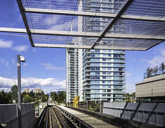 Arriving at Marine Drive station (Tony Tomlin) Tags: vancouver canadaline station transit condos